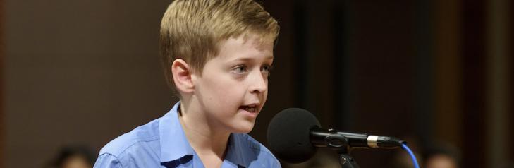 Boy at Spelling bee